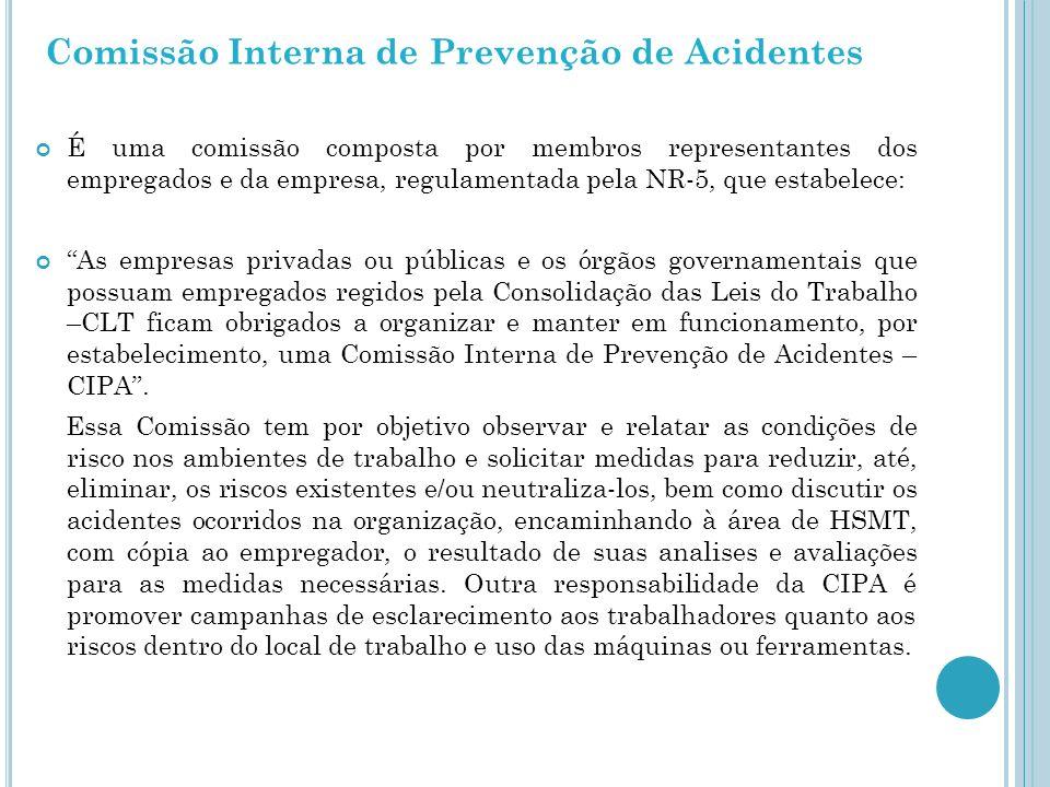 Comissão Interna de Prevenção de Acidentes É uma comissão composta por membros representantes dos empregados e da empresa, regulamentada pela NR-5, qu