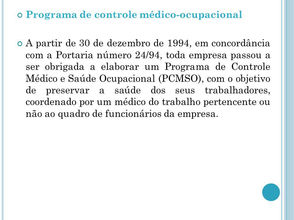 Programa de controle médico-ocupacional A partir de 30 de dezembro de 1994, em concordância com a Portaria número 24/94, toda empresa passou a ser obr