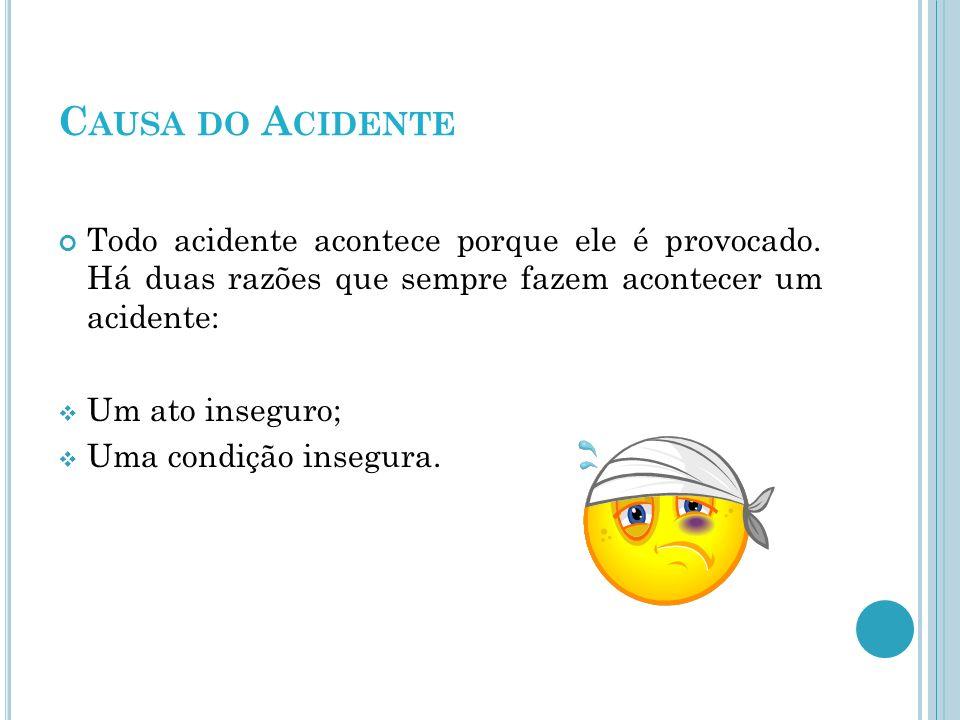 C AUSA DO A CIDENTE Todo acidente acontece porque ele é provocado. Há duas razões que sempre fazem acontecer um acidente: Um ato inseguro; Uma condiçã