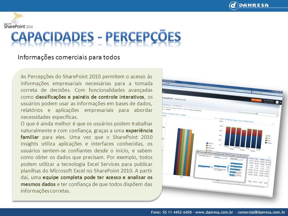 Fone: 55 11 4452-6450 - www.danresa.com.br - comercial@danresa.com.br Informações comerciais para todos As Percepções do SharePoint 2010 permitem o ac