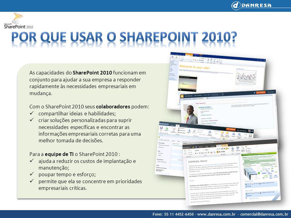 Fone: 55 11 4452-6450 - www.danresa.com.br - comercial@danresa.com.br As capacidades do SharePoint 2010 funcionam em conjunto para ajudar a sua empres