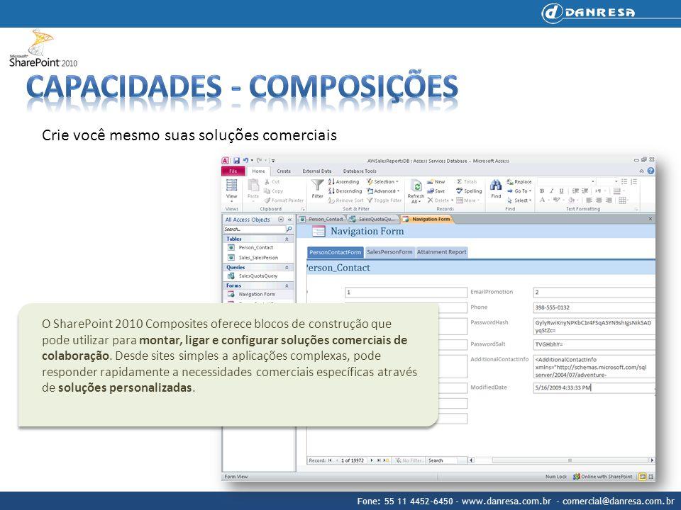 Fone: 55 11 4452-6450 - www.danresa.com.br - comercial@danresa.com.br O SharePoint 2010 Composites oferece blocos de construção que pode utilizar para