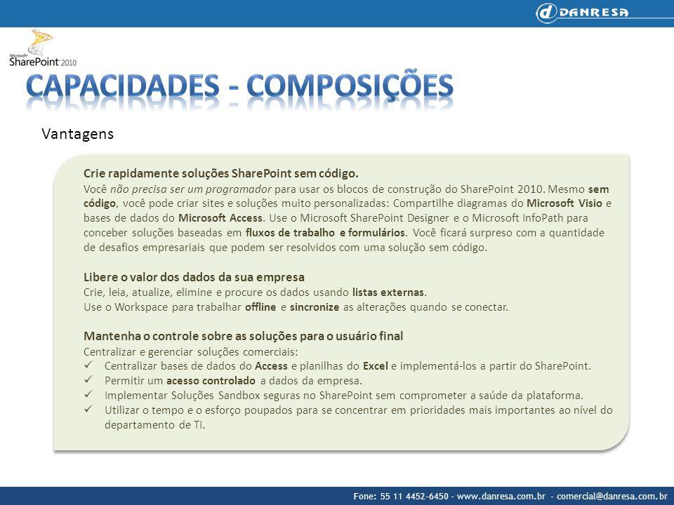 Fone: 55 11 4452-6450 - www.danresa.com.br - comercial@danresa.com.br Características principais Access Services O SharePoint 2010 e o Access trabalham em conjunto integralmente.