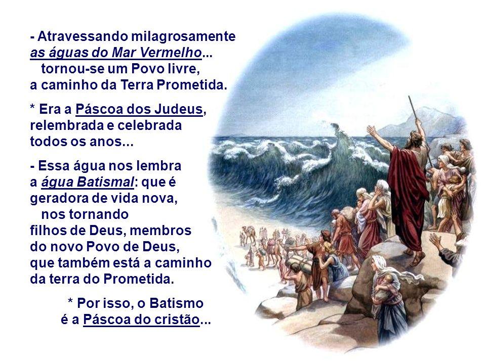 b) Na LIBERTAÇÃO : (Ex 14,15-15,1) Deus após ter escolhido ABRAÃO, como Pai de um grande Povo escolhe MOISÉS para conscientizar esse povo de sua missã