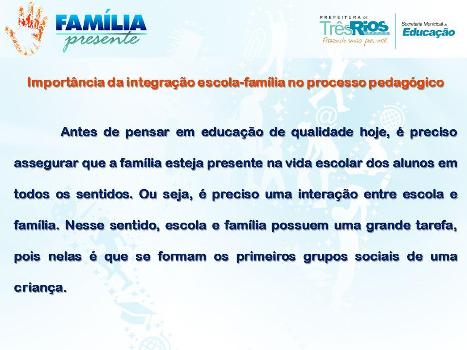 Importância da integração escola-família no processo pedagógico Antes de pensar em educação de qualidade hoje, é preciso assegurar que a família estej