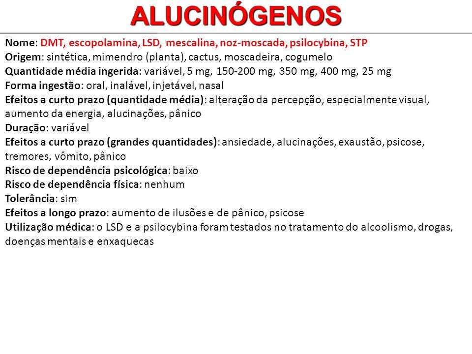 Nome: DMT, escopolamina, LSD, mescalina, noz-moscada, psilocybina, STP Origem: sintética, mimendro (planta), cactus, moscadeira, cogumelo Quantidade m