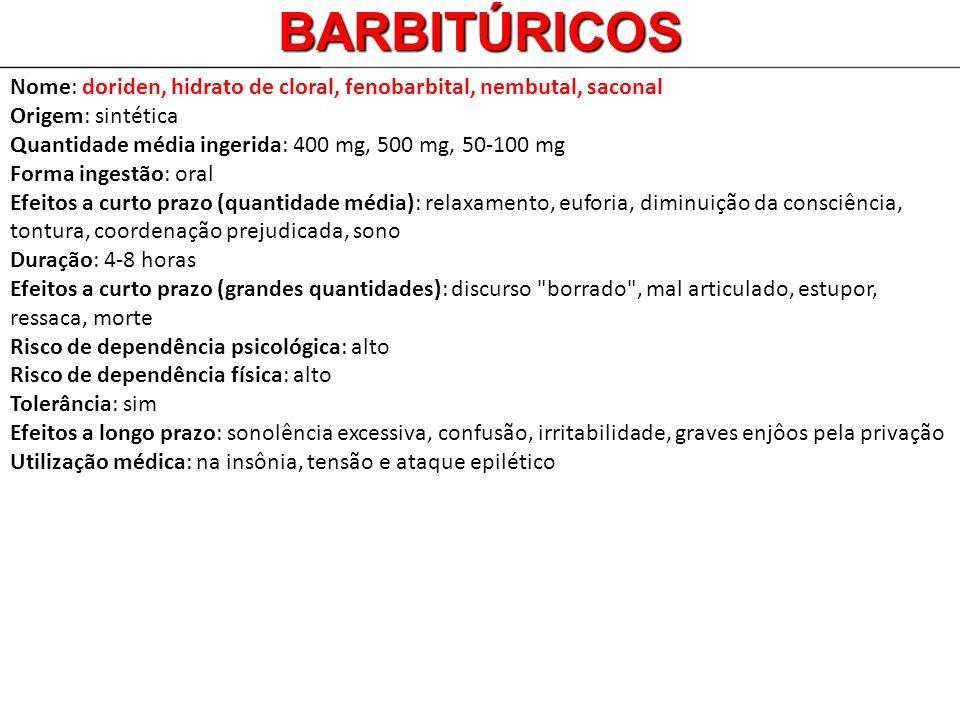 Nome: doriden, hidrato de cloral, fenobarbital, nembutal, saconal Origem: sintética Quantidade média ingerida: 400 mg, 500 mg, 50-100 mg Forma ingestã