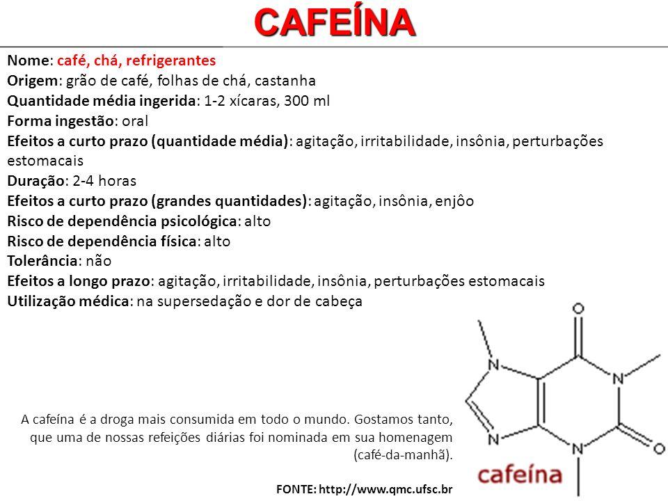 Nome: café, chá, refrigerantes Origem: grão de café, folhas de chá, castanha Quantidade média ingerida: 1-2 xícaras, 300 ml Forma ingestão: oral Efeit