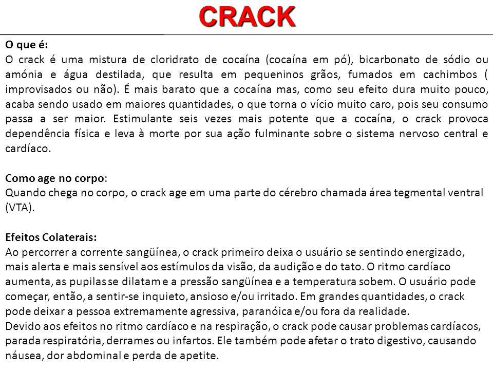 O que é: O crack é uma mistura de cloridrato de cocaína (cocaína em pó), bicarbonato de sódio ou amónia e água destilada, que resulta em pequeninos gr
