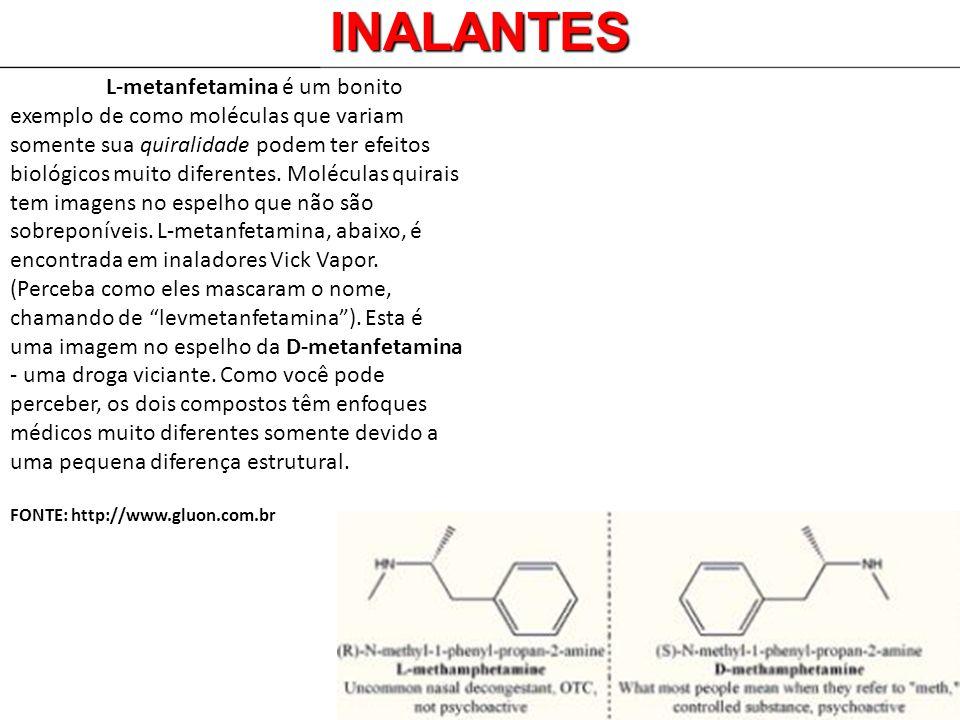 INALANTES L-metanfetamina é um bonito exemplo de como moléculas que variam somente sua quiralidade podem ter efeitos biológicos muito diferentes. Molé