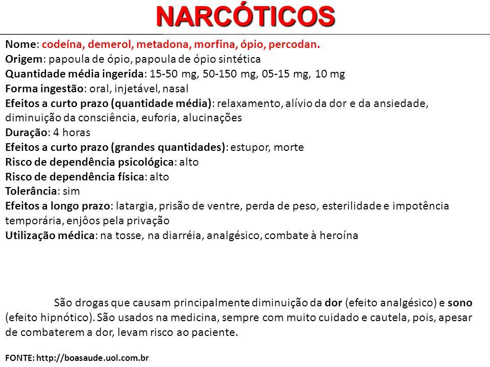 Nome: codeína, demerol, metadona, morfina, ópio, percodan. Origem: papoula de ópio, papoula de ópio sintética Quantidade média ingerida: 15-50 mg, 50-