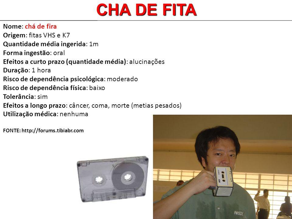 Nome: chá de fira Origem: fitas VHS e K7 Quantidade média ingerida: 1m Forma ingestão: oral Efeitos a curto prazo (quantidade média): alucinações Dura
