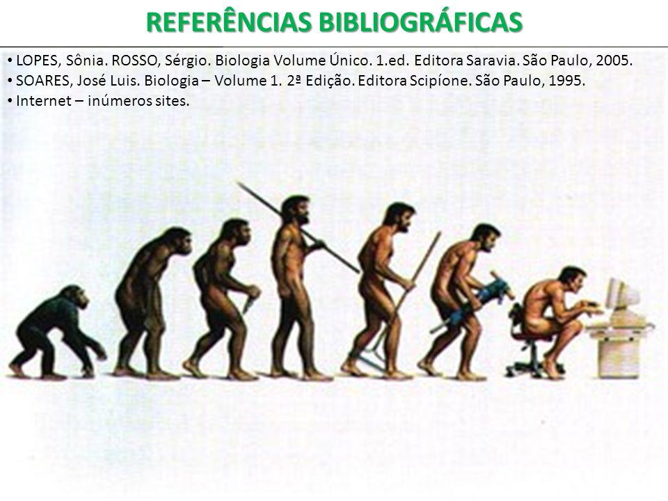 REFERÊNCIAS BIBLIOGRÁFICAS LOPES, Sônia. ROSSO, Sérgio. Biologia Volume Único. 1.ed. Editora Saravia. São Paulo, 2005. SOARES, José Luis. Biologia – V