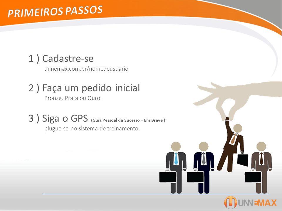 1 ) Cadastre-se unnemax.com.br/nomedeusuario 2 ) Faça um pedido inicial Bronze, Prata ou Ouro. 3 ) Siga o GPS (Guia Pessoal de Sucesso – Em Breve ) pl