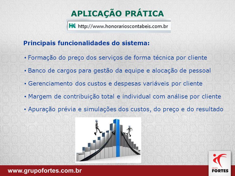 Principais funcionalidades do sistema: Formação do preço dos serviços de forma técnica por cliente Banco de cargos para gestão da equipe e alocação de