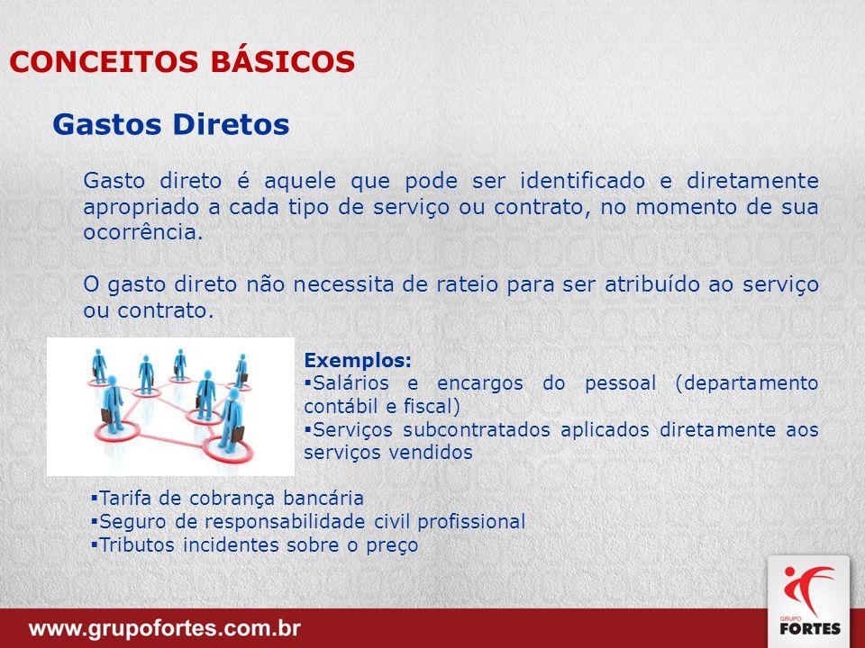 Gastos Diretos Gasto direto é aquele que pode ser identificado e diretamente apropriado a cada tipo de serviço ou contrato, no momento de sua ocorrênc