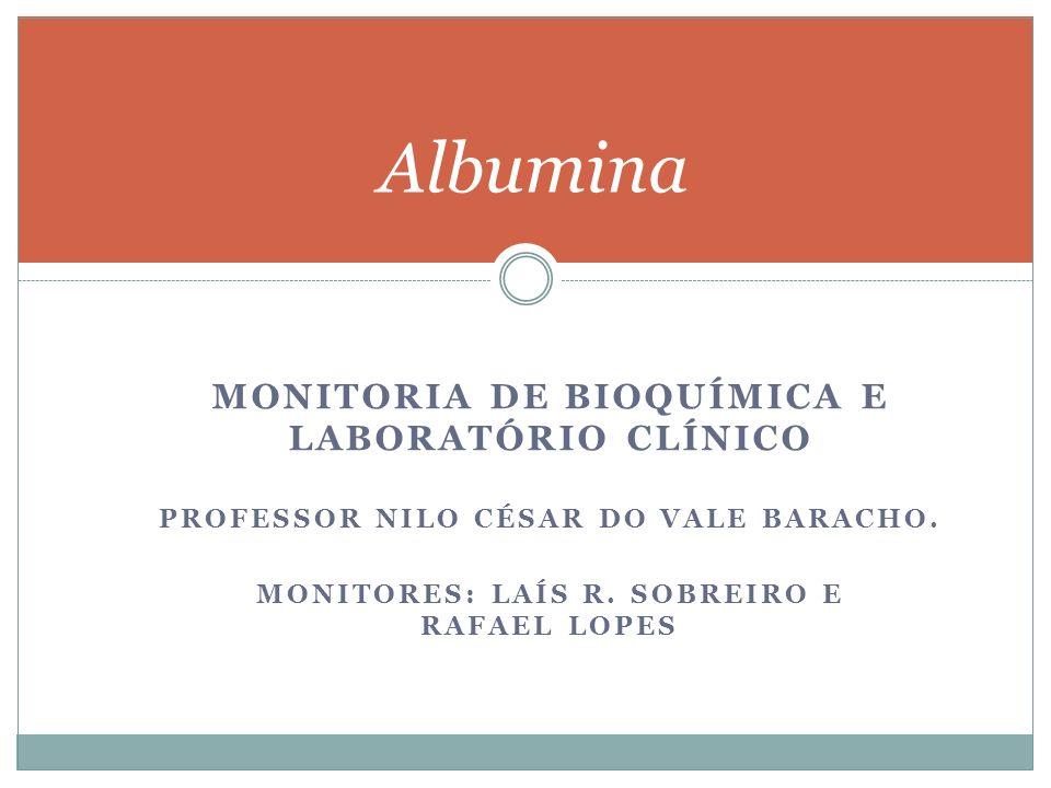 MONITORIA DE BIOQUÍMICA E LABORATÓRIO CLÍNICO PROFESSOR NILO CÉSAR DO VALE BARACHO. MONITORES: LAÍS R. SOBREIRO E RAFAEL LOPES Albumina
