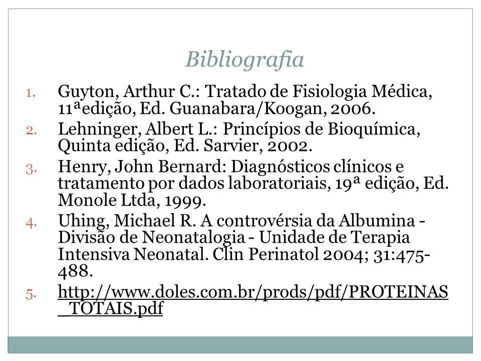 Bibliografia 1. Guyton, Arthur C.: Tratado de Fisiologia Médica, 11ªedição, Ed. Guanabara/Koogan, 2006. 2. Lehninger, Albert L.: Princípios de Bioquím