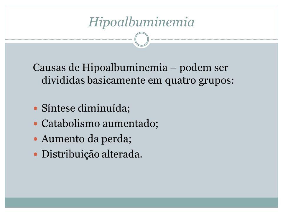 Hipoalbuminemia Causas de Hipoalbuminemia – podem ser divididas basicamente em quatro grupos: Síntese diminuída; Catabolismo aumentado; Aumento da perda; Distribuição alterada.