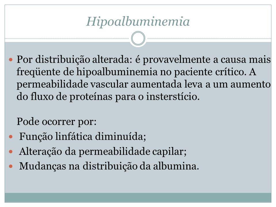 Hipoalbuminemia Por distribuição alterada: é provavelmente a causa mais freqüente de hipoalbuminemia no paciente crítico. A permeabilidade vascular au