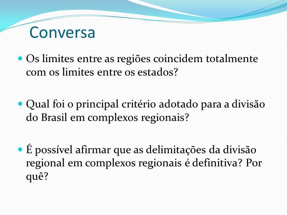 Conversa Os limites entre as regiões coincidem totalmente com os limites entre os estados? Qual foi o principal critério adotado para a divisão do Bra