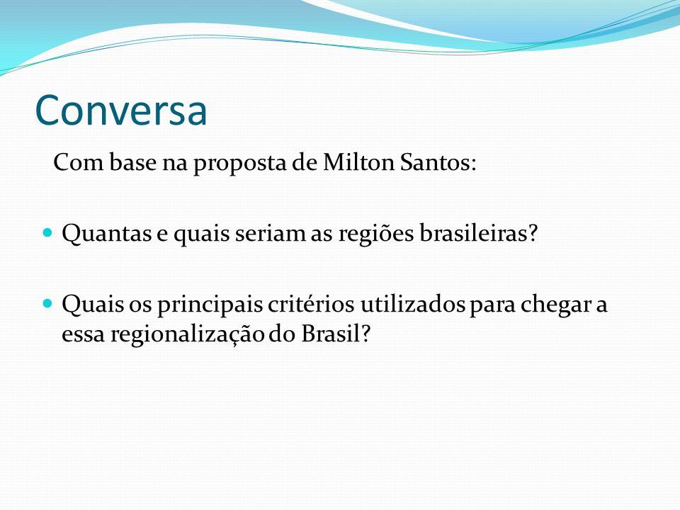 Conversa Com base na proposta de Milton Santos: Quantas e quais seriam as regiões brasileiras? Quais os principais critérios utilizados para chegar a