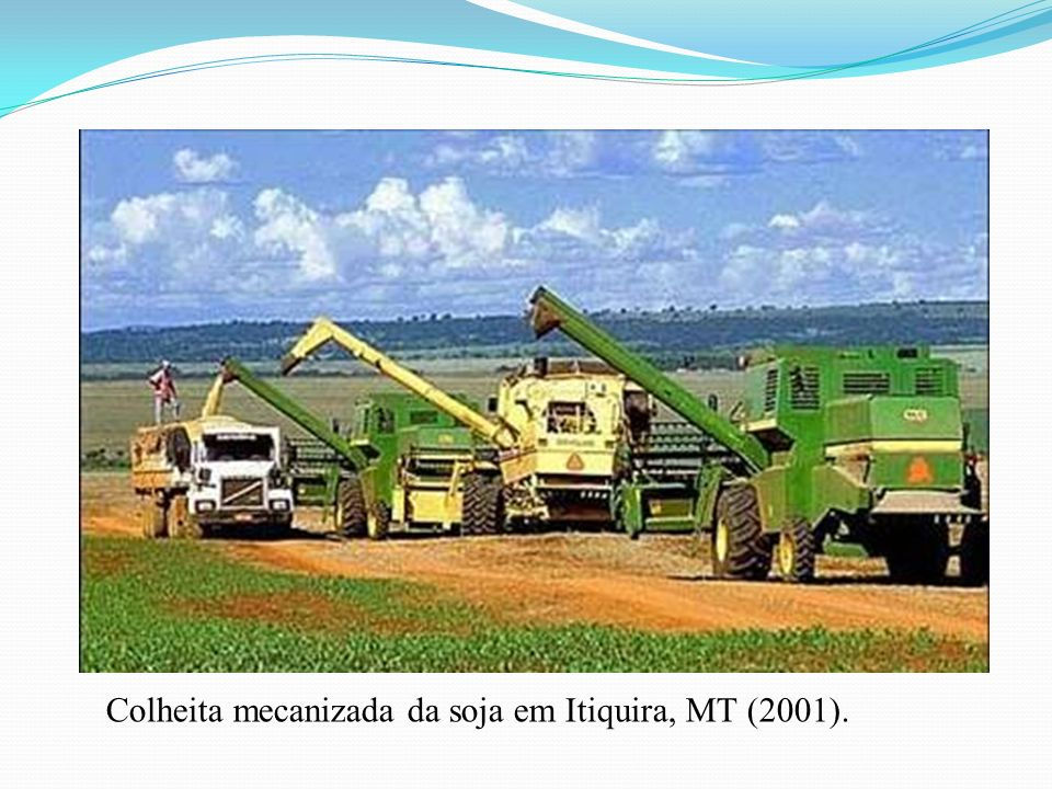 Colheita mecanizada da soja em Itiquira, MT (2001).