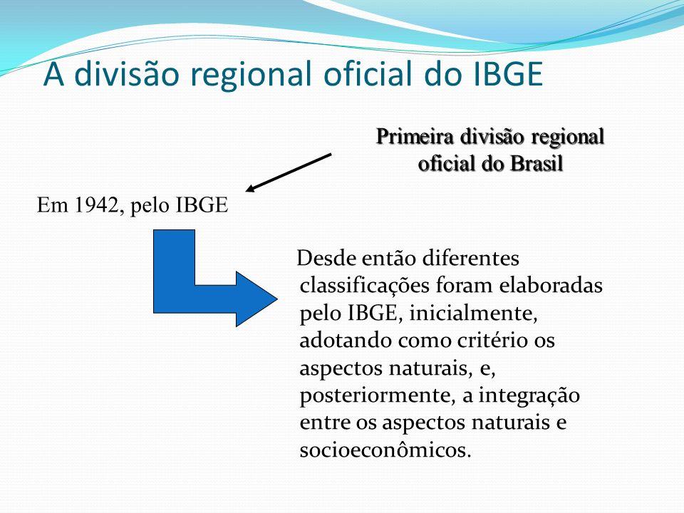 A divisão regional oficial do IBGE Desde então diferentes classificações foram elaboradas pelo IBGE, inicialmente, adotando como critério os aspectos