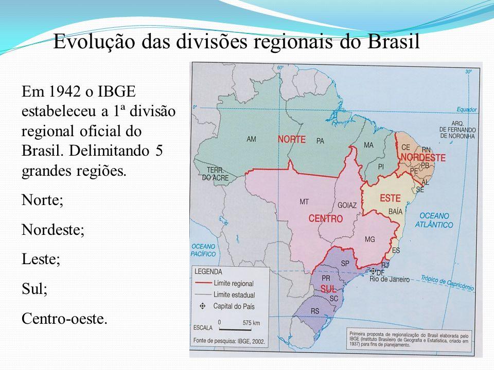 Evolução das divisões regionais do Brasil Em 1942 o IBGE estabeleceu a 1ª divisão regional oficial do Brasil. Delimitando 5 grandes regiões. Norte; No