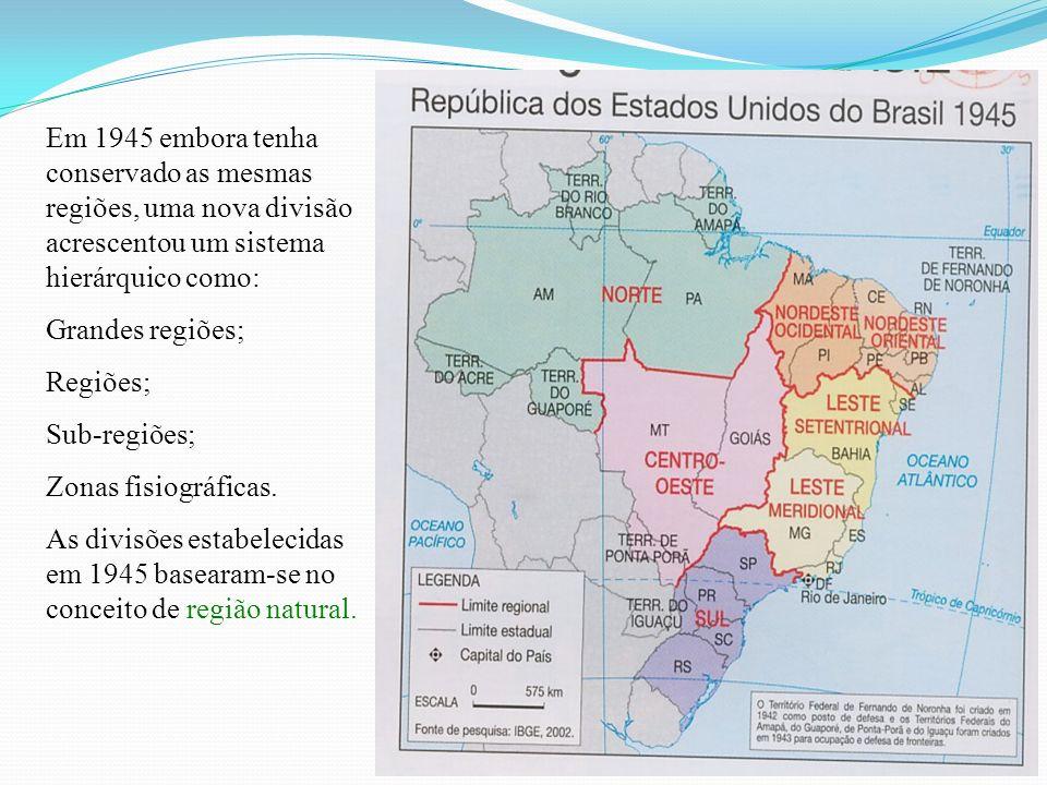 Em 1945 embora tenha conservado as mesmas regiões, uma nova divisão acrescentou um sistema hierárquico como: Grandes regiões; Regiões; Sub-regiões; Zo