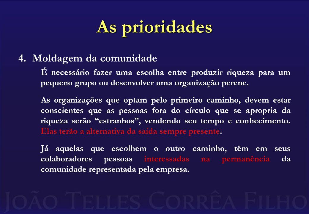 As prioridades 4.Moldagem da comunidade É necessário fazer uma escolha entre produzir riqueza para um pequeno grupo ou desenvolver uma organização per