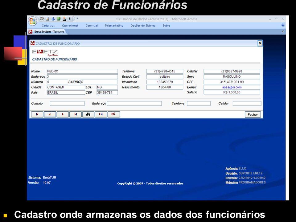 Cadastro de Funcionários Cadastro onde armazenas os dados dos funcionários