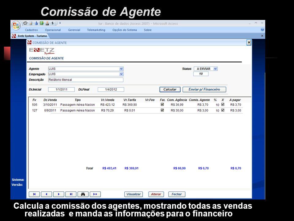 Comissão de Agente Calcula a comissão dos agentes, mostrando todas as vendas realizadas e manda as informações para o financeiro