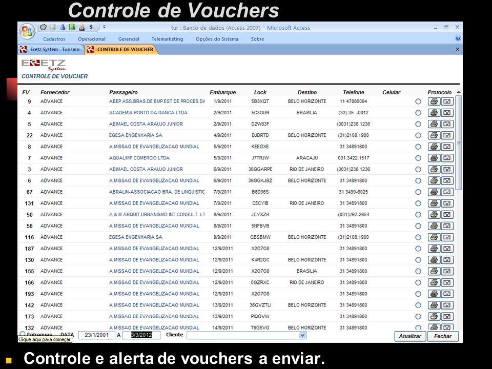 Controle de Vouchers Controle e alerta de vouchers a enviar.