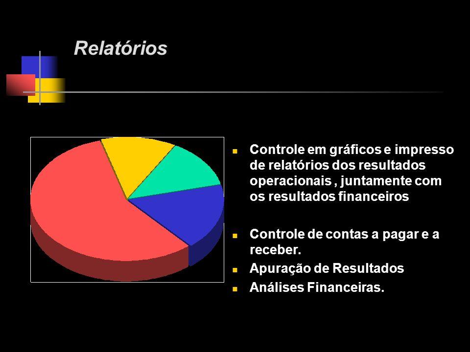 Controle em gráficos e impresso de relatórios dos resultados operacionais, juntamente com os resultados financeiros Controle de contas a pagar e a receber.