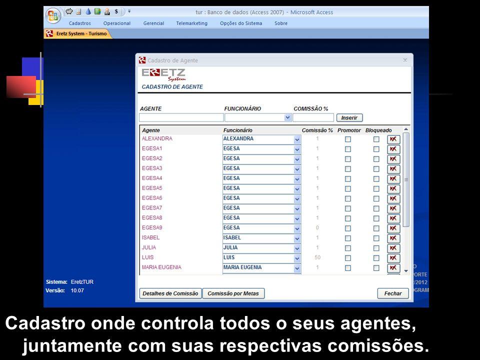 Cadastro de Agentes Cadastro onde controla todos o seus agentes, juntamente com suas respectivas comissões.