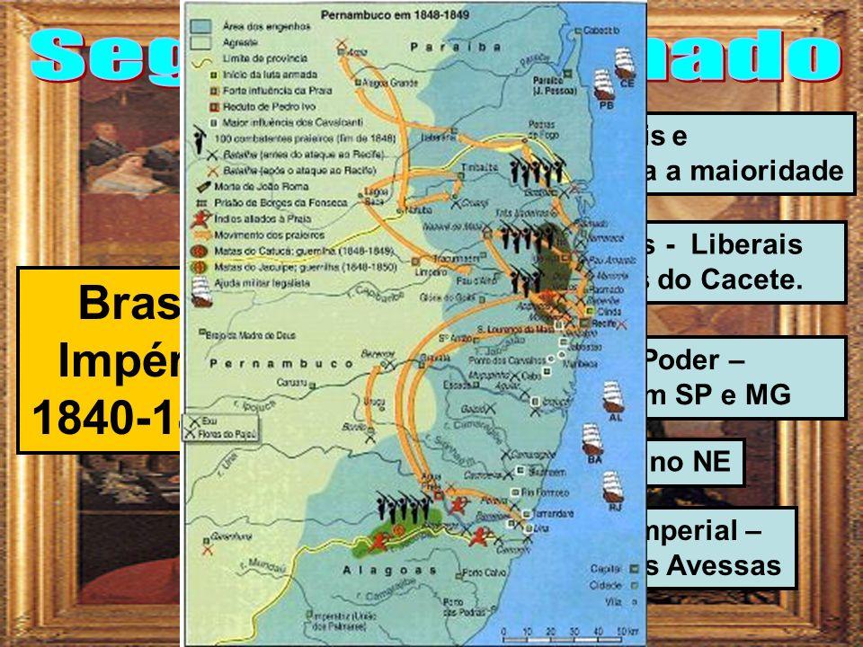 Acordo entre liberais e conservadores para a maioridade Brasil Império 1840-1889 Ministério de Irmãos - Liberais no poder – Eleições do Cacete.
