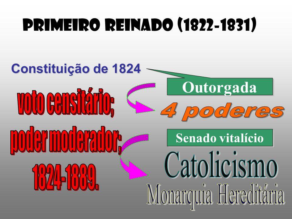 PRIMEIRO REINADO (1822-1831) Constituição de 1824 Outorgada Senado vitalício