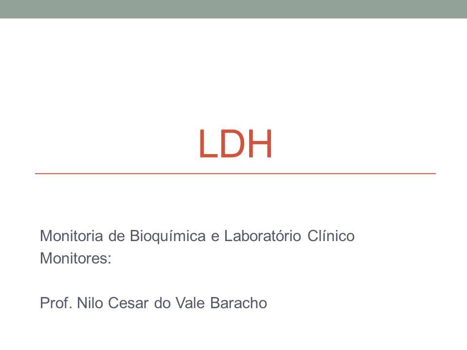 LDH Monitoria de Bioquímica e Laboratório Clínico Monitores: Prof. Nilo Cesar do Vale Baracho