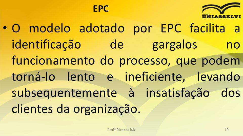 EPC O modelo adotado por EPC facilita a identificação de gargalos no funcionamento do processo, que podem torná-lo lento e ineficiente, levando subsequentemente à insatisfação dos clientes da organização.