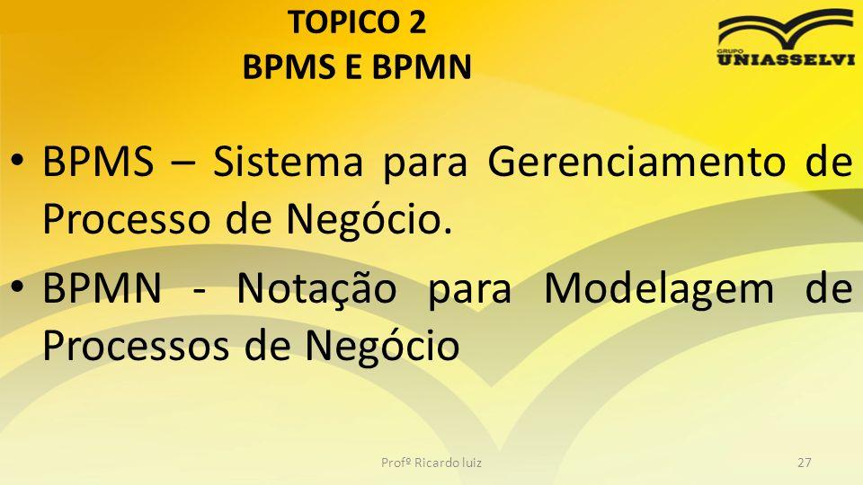TOPICO 2 BPMS E BPMN BPMS – Sistema para Gerenciamento de Processo de Negócio.