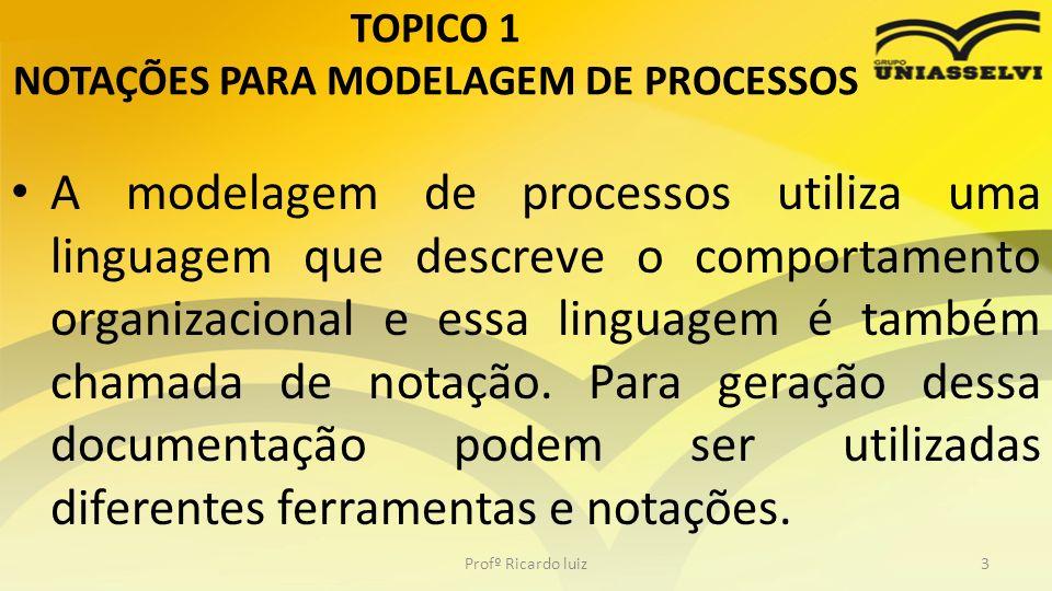 TOPICO 1 NOTAÇÕES PARA MODELAGEM DE PROCESSOS Tem 3 modelos de notações: – UML – DIAGRAMA DE ATIVIDADES – IDEF – EPC Profº Ricardo luiz4