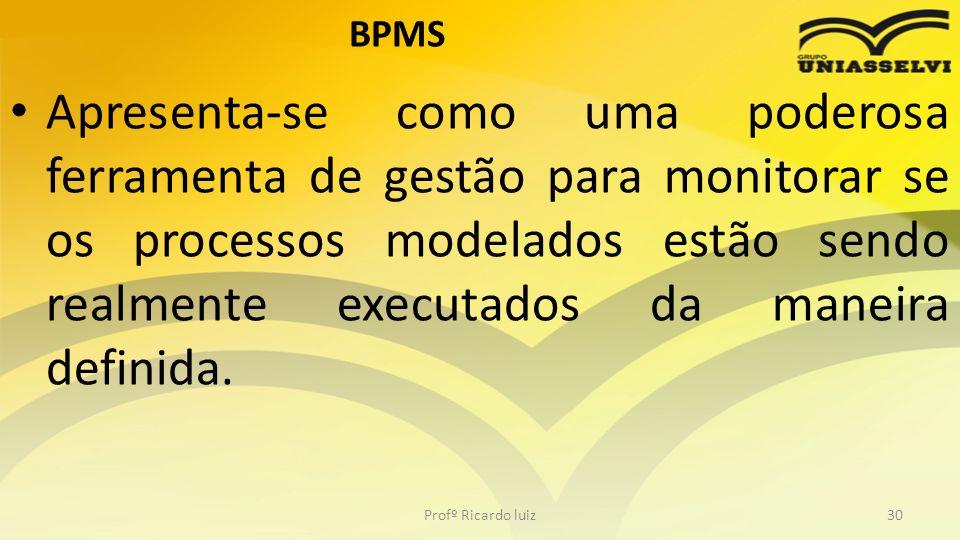 BPMS Apresenta-se como uma poderosa ferramenta de gestão para monitorar se os processos modelados estão sendo realmente executados da maneira definida.