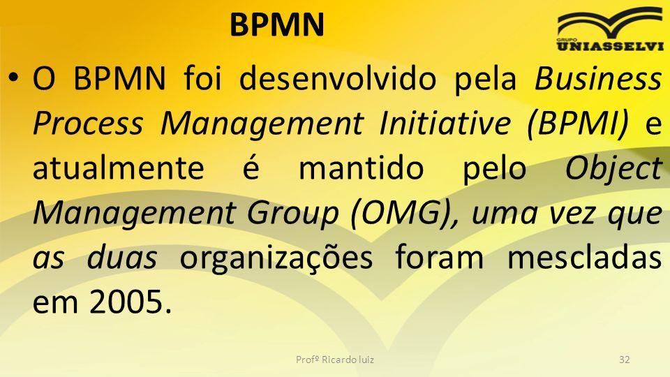BPMN O BPMN foi desenvolvido pela Business Process Management Initiative (BPMI) e atualmente é mantido pelo Object Management Group (OMG), uma vez que as duas organizações foram mescladas em 2005.