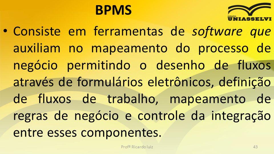 BPMS Consiste em ferramentas de software que auxiliam no mapeamento do processo de negócio permitindo o desenho de fluxos através de formulários eletrônicos, definição de fluxos de trabalho, mapeamento de regras de negócio e controle da integração entre esses componentes.
