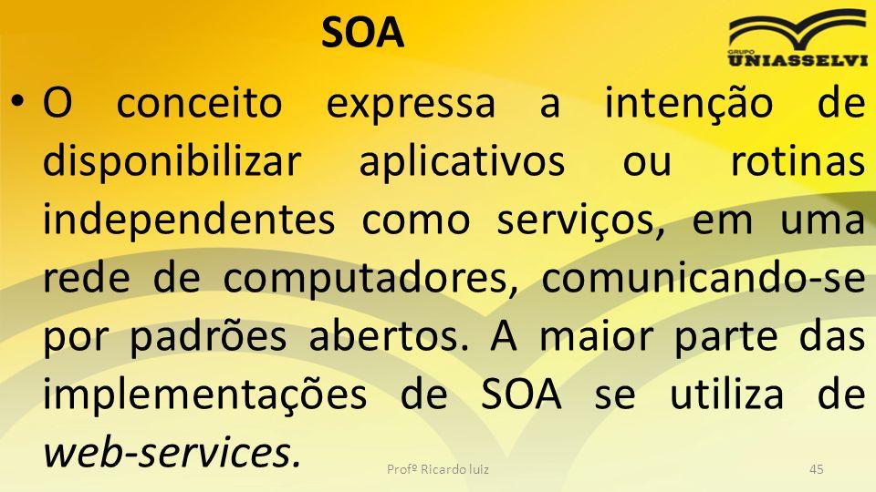 SOA O conceito expressa a intenção de disponibilizar aplicativos ou rotinas independentes como serviços, em uma rede de computadores, comunicando-se por padrões abertos.
