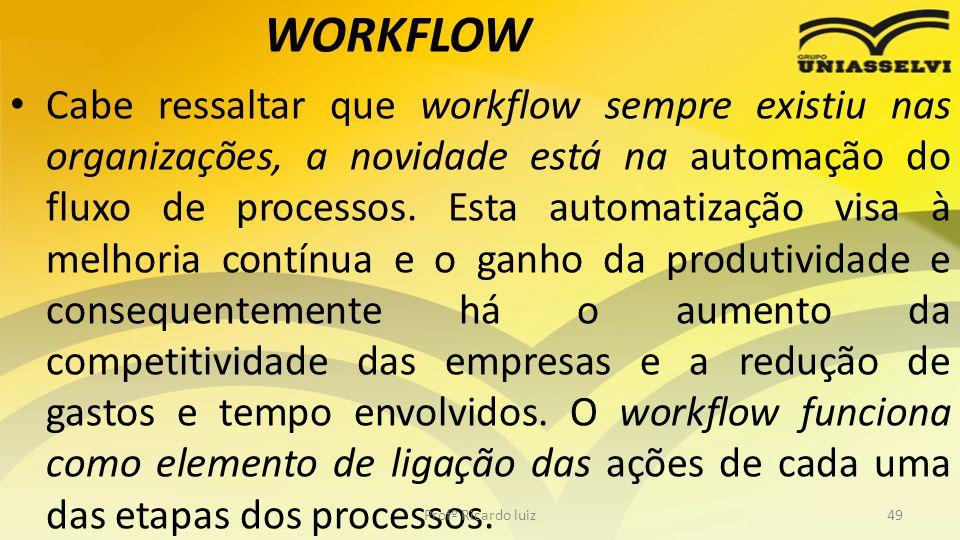 WORKFLOW Cabe ressaltar que workflow sempre existiu nas organizações, a novidade está na automação do fluxo de processos.