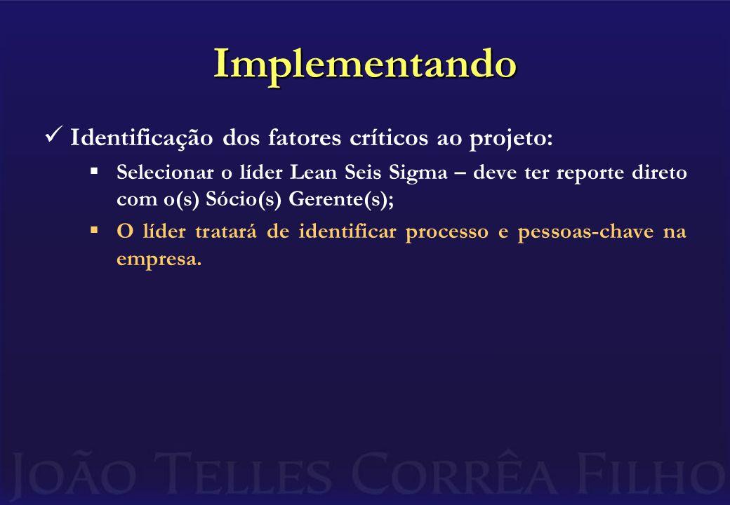 Implementando Identificação dos fatores críticos ao projeto: Selecionar o líder Lean Seis Sigma – deve ter reporte direto com o(s) Sócio(s) Gerente(s); O líder tratará de identificar processo e pessoas-chave na empresa.
