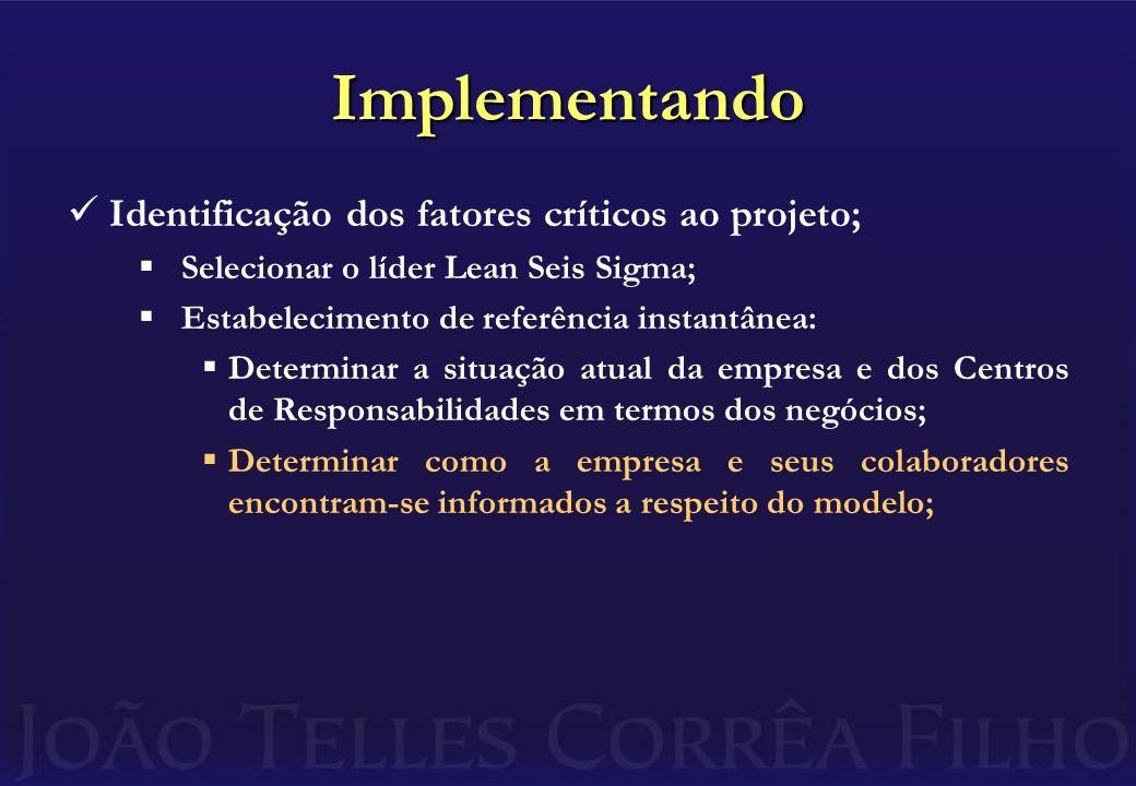 Implementando Identificação dos fatores críticos ao projeto; Selecionar o líder Lean Seis Sigma; Estabelecimento de referência instantânea: Determinar a situação atual da empresa e dos Centros de Responsabilidades em termos dos negócios; Determinar como a empresa e seus colaboradores encontram-se informados a respeito do modelo;