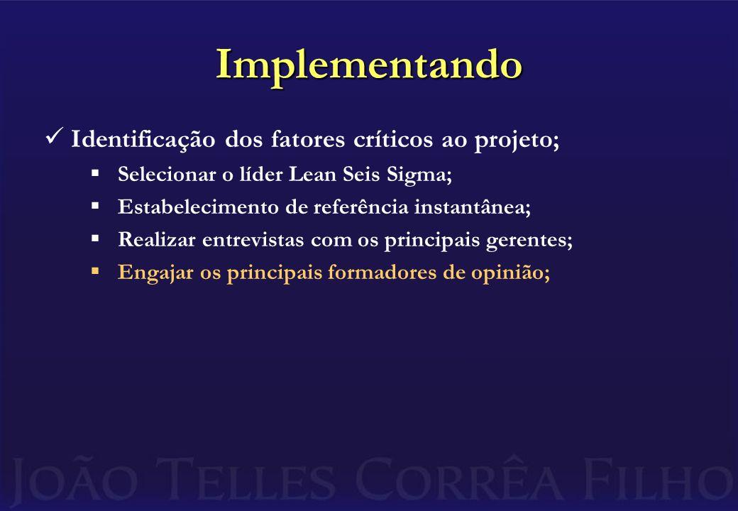 Implementando Identificação dos fatores críticos ao projeto; Selecionar o líder Lean Seis Sigma; Estabelecimento de referência instantânea; Realizar entrevistas com os principais gerentes; Engajar os principais formadores de opinião;